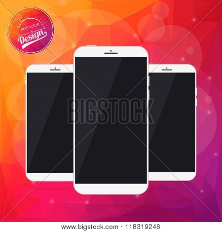 Abstract Creative concept vector smartphone. For web, mobile applications isolated on mesh backgroun