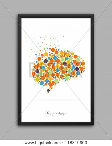 Abstract Creative concept vector icon of brain for Web and Mobile Applications isolated on backgroun