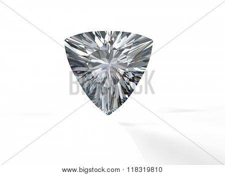 Gemstone on white. Jewelry background. Diamond. Trillion