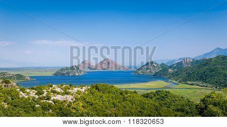 Wide panoramic landscape of Skadar lake national park, Montenegro.