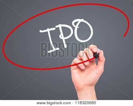 Man Hand Writing Ipo (initial Public Offering)   With Black Marker On Visual Screen