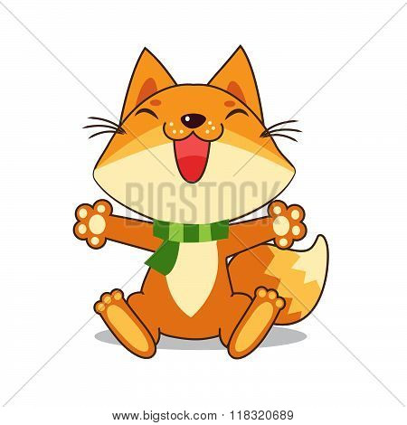 Small Fox. Vector Fox. Fox Sitting. Good Fox. Fox Smiles. Good Animal. Vector Illustration. Vector Image. Happy Animal. Good Drawing. The Picture On The White Background. Small Fox Toy. Fox Tail.