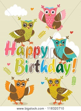 Owlet Baby. Cute Owl Set. Cut Isolated Vector. Owlet Definition. Owl Pictures. Owl Tattoo. Owl Costume. Cheerful Birds. Forest Birds. Playful Birds. Flying Birds. Happy Birthday Card With Funny Owl.