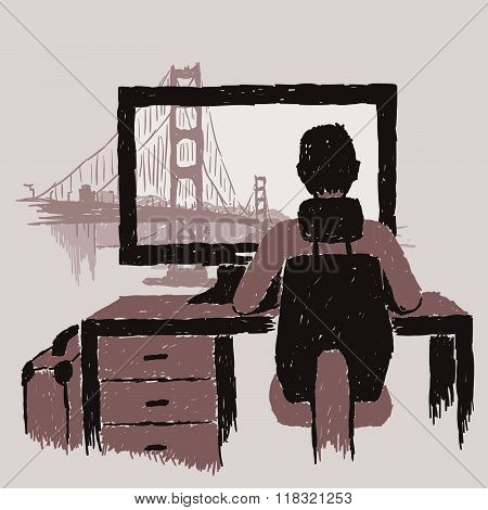 Golden Gate Bridge Framed By Person Using Computer