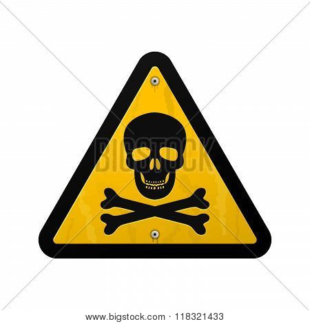 Triangular Warning Sign With Skull And Crossbones