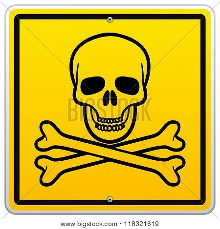 Skull And Crossbones In Square Sign