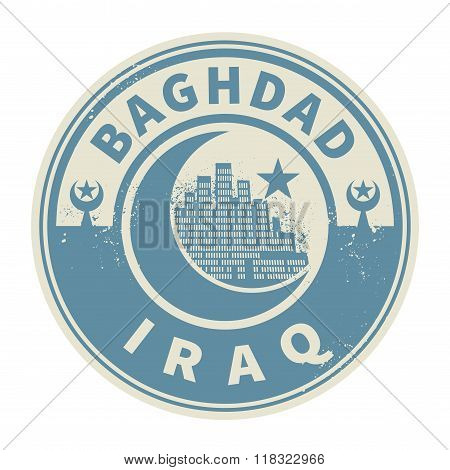 Stamp With Text Baghdad, Iraq Inside