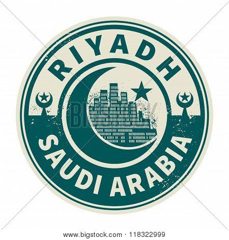 Stamp With Text Riyadh, Saudi Arabia Inside