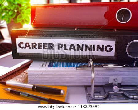 Career Planning on Black Office Folder. Toned Image.