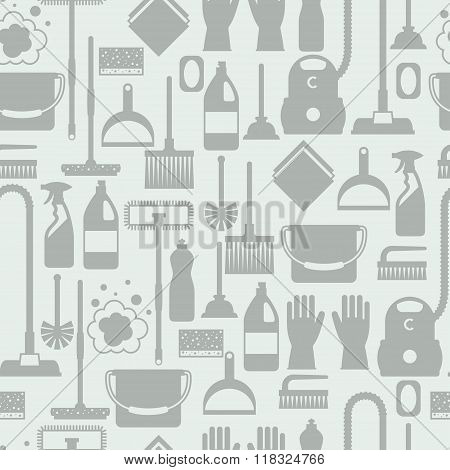 Housekeeping lifestyle seamless pattern with cleaning icons. Background for backdrop to site, textil