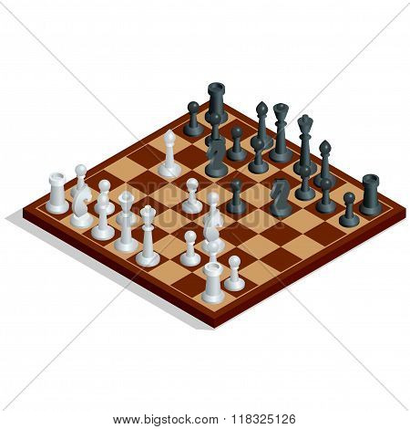 Chess board, chess game. Chess on chessboard. Winning concept. Flat 3d vector isometric illustration