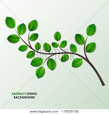 Spring Twig With Green Leaves Background