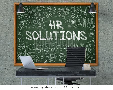 HR Solutions Concept. Doodle Icons on Chalkboard.
