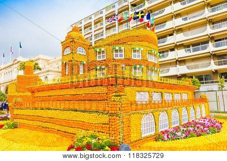 Building Made Of Lemons And Oranges In The Famous Carnival Of Menton, France. Fete Du Citron.