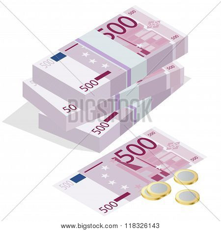 Five hundred euro banknote and one euro coin on a white background. Flat 3d vector isometric illustr