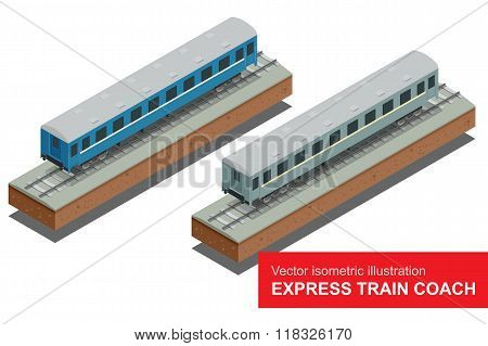 Vector isometric illustration of a Fast Train. Fast Train. Vehicles designed to carry large numbers