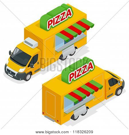 Fast Pizza Delivery Car isolated on white background. Delivery van with pizza express symbol. Fast-f