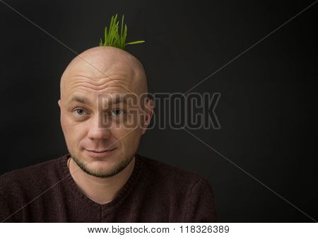 Portrait of a bald man. Grass grows on his head.