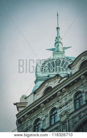 Saint Petersburg, Russia - July 26, 2015:  The view beautiful spire near Admiralty building from the