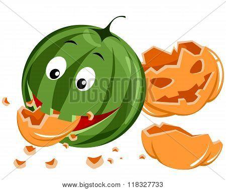 Watermelon Eating Pumpkin