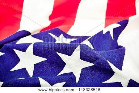 Selective Focus of ruffled American flag
