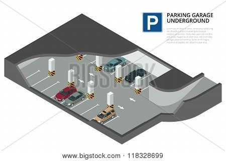 Underground parking with cars. Indoor car park. Urban car parking service. Flat 3d isometric vector