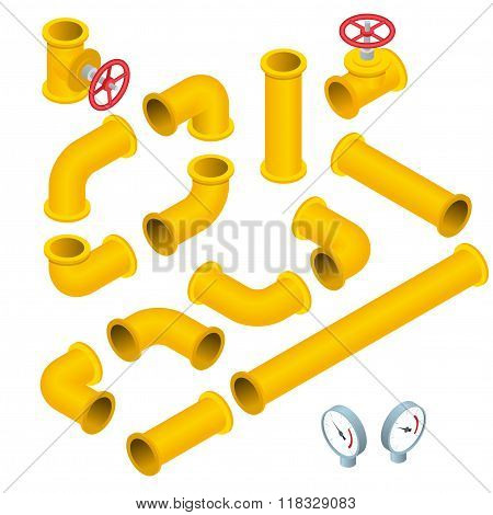 Vector 3d flat isometric illustration collection of detailed Construction Pieces pipes, fittings, ga