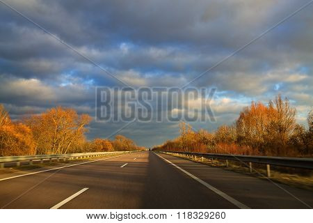 Highway autumn day
