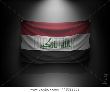 Waving Flag Iraq On A Dark Wall