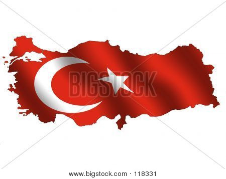 Picture or Photo of Map of turkey, filled with its waving flag