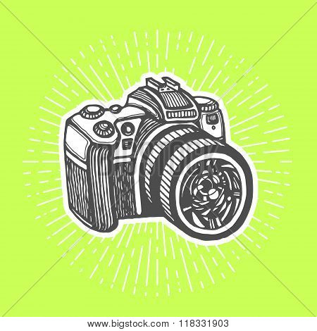 DSLR digital camera. Vintage style, hand drawn pen and ink.  Vector clip art for flyer, business card of electronics shop or professional camera store. Retro design element