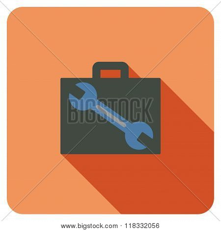 Tools Case Flat Rounded Square Icon with Long Shadow