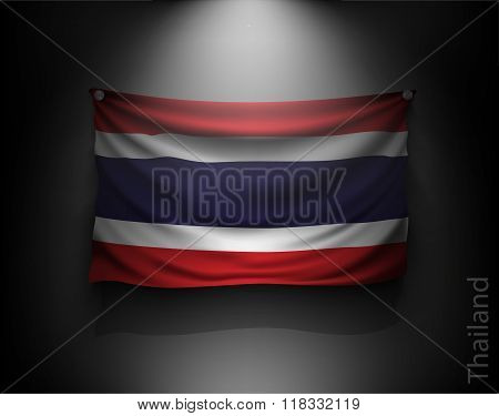 waving flag Thailand  on a dark wall