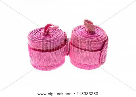 Pink Boxing Wraps Or Bandages Isolated On White