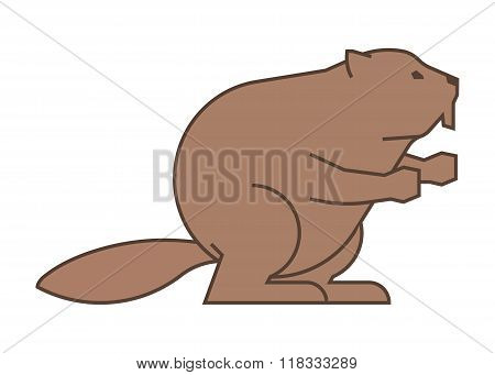 Vector Painted Line Figure Of Beaver On A White Background.