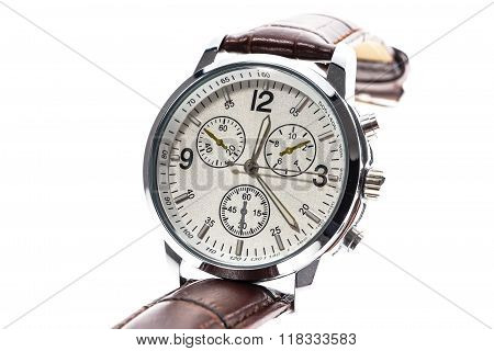 Mens Luxury Round Swiss Mechanical Wrist Watch With Leather Wristband Strap.