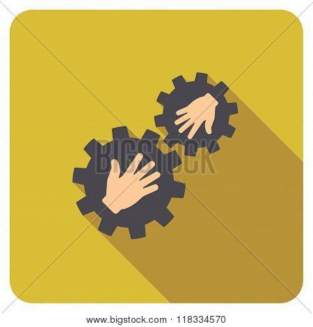 Gears Contact Flat Rounded Square Icon with Long Shadow