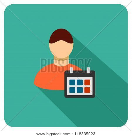 Staff Schedule Flat Rounded Square Icon With Long Shadow