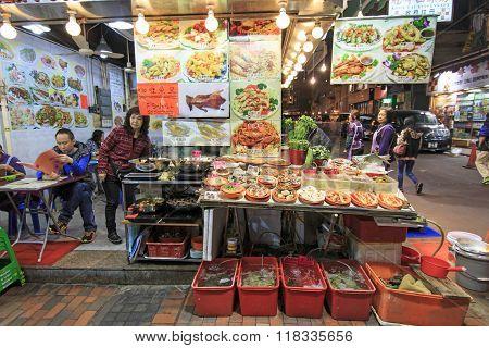 Hong Kong - China, 14 January, 2016: Food Stalls In Temple Street, Hong Kong