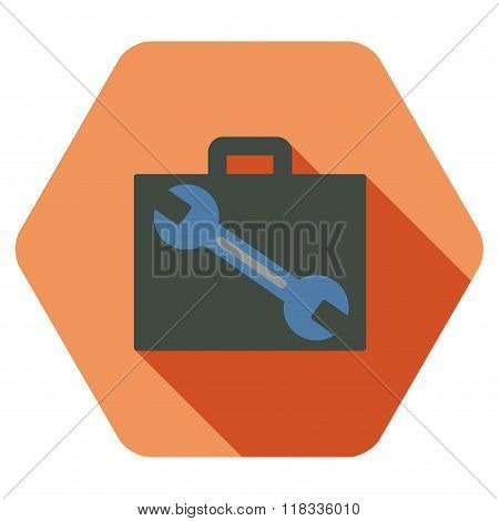 Tools Case Flat Hexagon Icon with Long Shadow