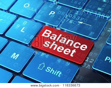 Money concept: Balance Sheet on computer keyboard background