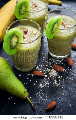 Useful Green Smoothie With Fruit, Almond And Oat Bran