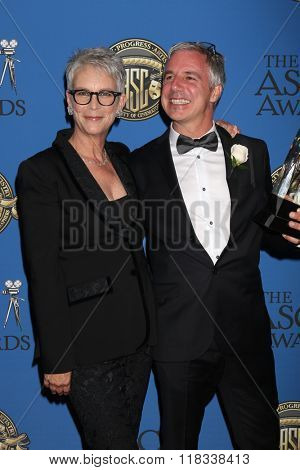LOS ANGELES - FEB 14:  Jamie Lee Curtis, Pierre Gill at the 2016 American Society of Cinematographers Awards at the Century Plaza Hotel on February 14, 2016 in Century City, CA