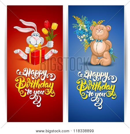 Happy Birthday Themed Vector Card Set. Hand Drawn Calligraphic Overlays Happy Birthday To You. Cartoon Cheerful Rabbit and Cute Bear.