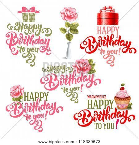 Typographic Happy Birthday Themed Calligraphic Overlays Design Vector Set. Isolated on white background.