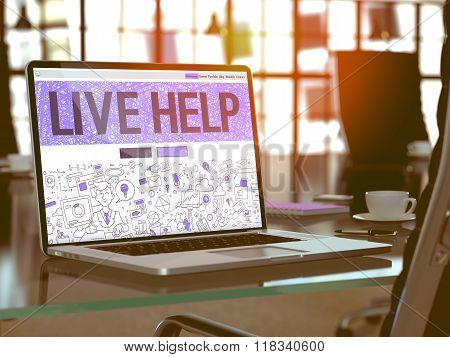 Live Help Concept on Laptop Screen.
