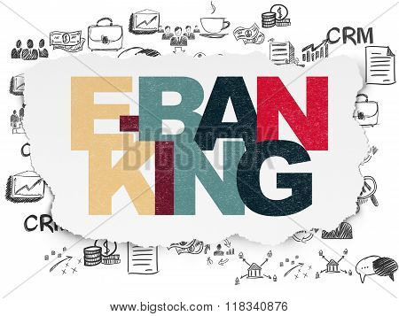 Finance concept: E-Banking on Torn Paper background