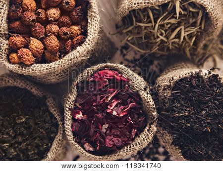 Collection Of Different Varieties Of Tea In Bags. White, Green, Black, Hawthorn, Hibiscus