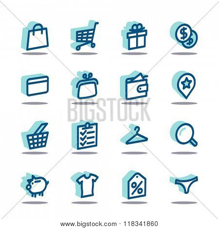 3D Fat Line Icon set for web and mobile. Modern minimalistic flat design elements of shopping process and retail service