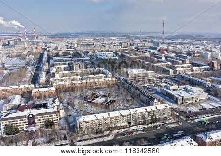 Residential district with TV towers. Tyumen.Russia